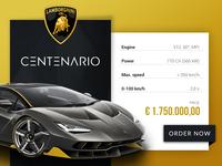Lamborghini Centenario UI Car Card
