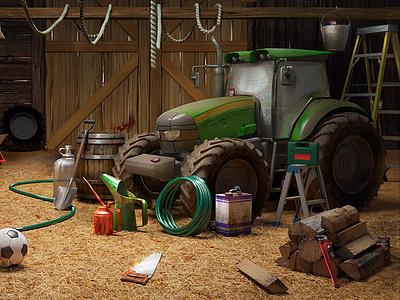 Barn illustration - 3d modeling and rendering hidden object game 3d game render assets interior farm hog 3d