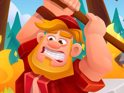 Timber Slash - 2d design and animation puzzle character vector game art mobile arcade illustration game design graphics design game character design 2d