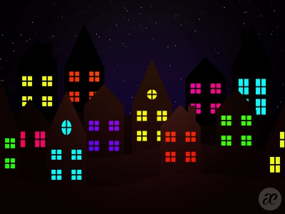 Happy Shiny Houses christmas illustration digital vector