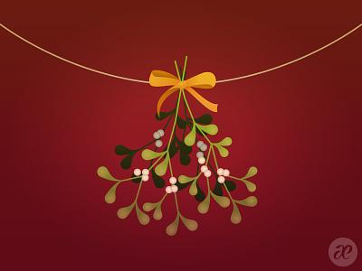 Meet me under the mistletoe mistletoe christmas illustration digital vector