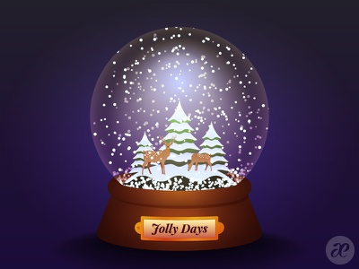 Jolly Days Snowglobe christmas illustration digital vector