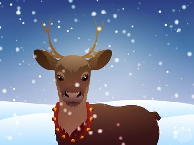 Standing in the Snow reindeer christmas illustration digital vector