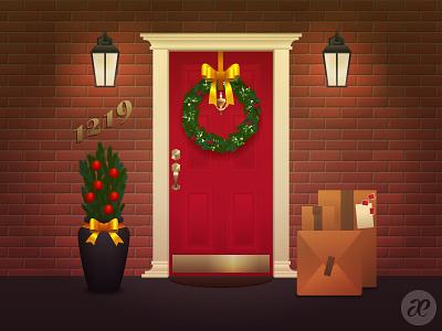Knock, knock! christmas illustration digital vector