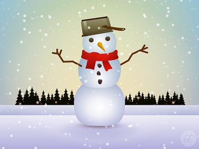 Snowman winter christmas illustration digital vector