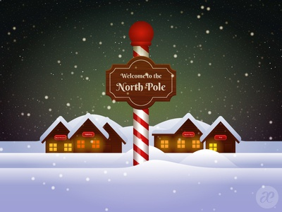 Up at the North Pole christmas illustration digital vector