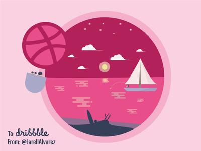 Valentines Day Card postcard dribbble pink valentines day febril cuevas debut