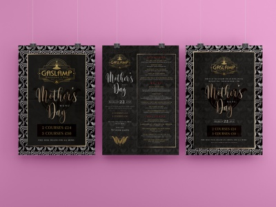 The Gaslamp Brasserie & Bar Mothers' Day Poster bar menubar art deco art-deco menu design menu restaurant mothers day flyer mothers day