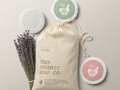 Your Organic Soap Co. Logo Design scented soap cloth bag package design packaging natural cosmetics natural health food shop lavender soap packaging beauty cosmetics handmade herbalist organic logo logo organics soap organic