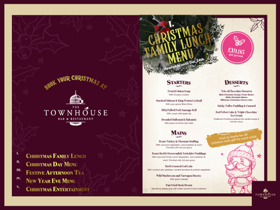 Townhouse Christmas Program santa holly restaurant branding festive bar christmas restaurant