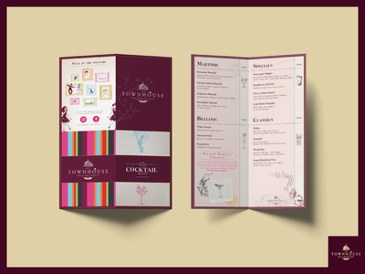 Townhouse Drinks Menu drinks menu cocktail menu menu design vintage retro car branding design bar restaurant