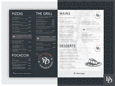 The Dog & Duck Menus burgers pizza slate marble branding restaurant