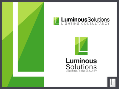 Luminous Solutions Lighting Consultancy Logo bigonmedia rectangle helvetica consultancy lighting design lighting light triangle green logo branding