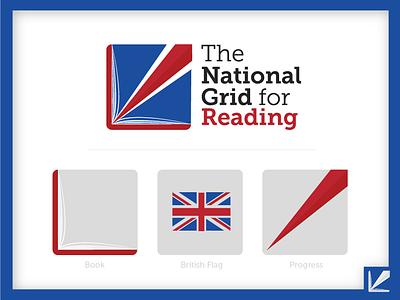 The National Grid For Reading Logo logo design book reading school education academy logo branding