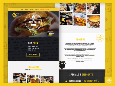The Barnyard Grill Website burger website design website restaurant branding