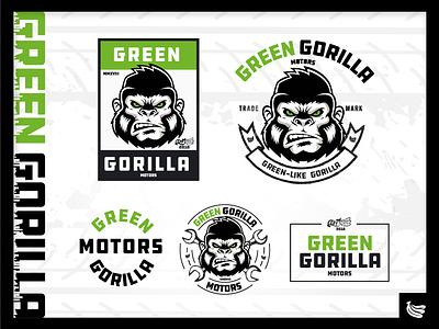 Green Gorilla Logo mechanic bananas gorilla motor garage car logo branding