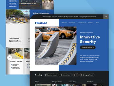 HEALD Website Hompage Design homepage website counter terrorism protect barrier bollards security heald