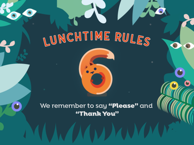 Lunchtime School Rules #6 number squirrel fun lunchtime jungle animals school rules rules academy school design