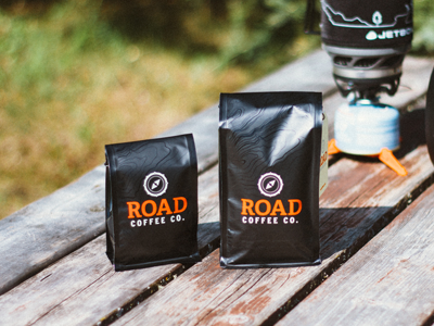 Packaging - Road Coffee Co. silkscreen coffee bag camping adventure branding logo coffee roasting coffee packing