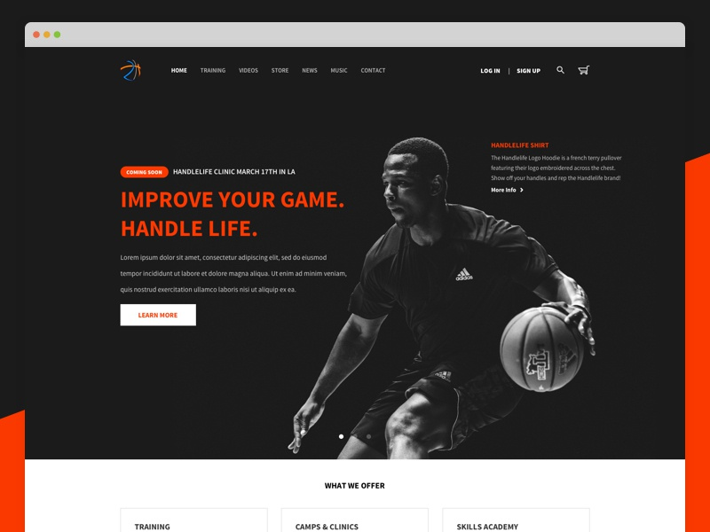 Homepage Design training basketball splash ux ui landing landing page homepage
