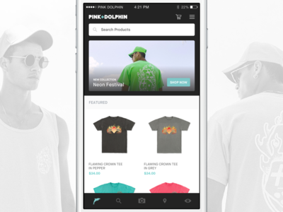 [PINK DOLPHIN] New App — Work in Progress streetwear ux ui ios mobile shopping ecommerce