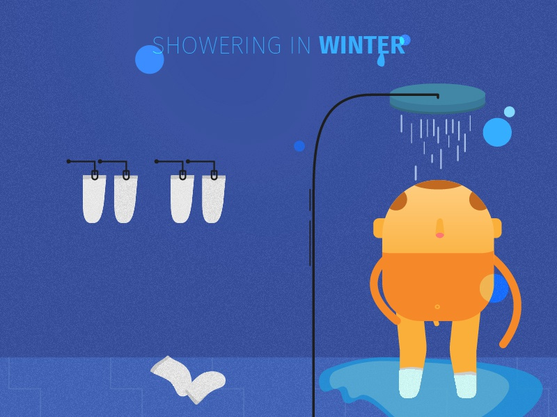 Showering with socks illustration illustrator character vector rafaelopotenza
