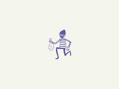 Burglar hand drawn illustration thief burglar