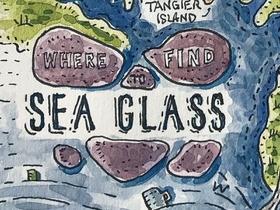 Where to Find Sea Glass Illustrated Map (Title) ink sea glass magazine delaware maryland chesapeake bay print watercolor pen and ink hand painted illustration