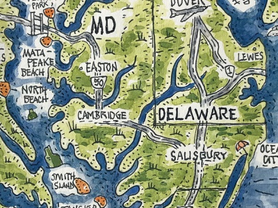 Where to Find Sea Glass Illustrated Map (Detail) delaware virginia maryland ink map chesapeake bay magazine watercolor pen and ink hand painted illustration