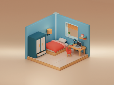 Something cube 01 cute house isometric illustration lowpoly bedroom room 3d