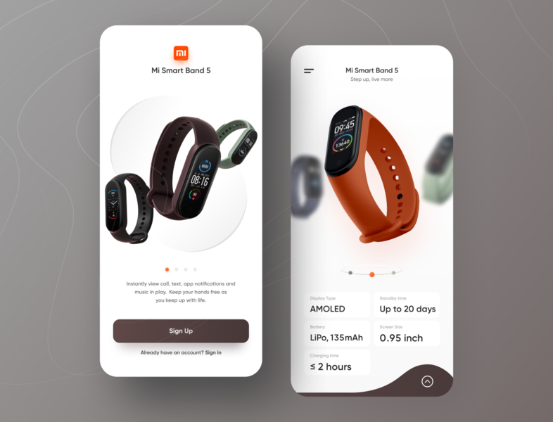 MI Band 5 flat watch app design ios branding illustration clean app ux ui minimal mi band 5