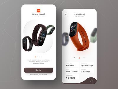MI Band 5 flat watch app design ios branding illustration clean app ux ui minimal mi band 5