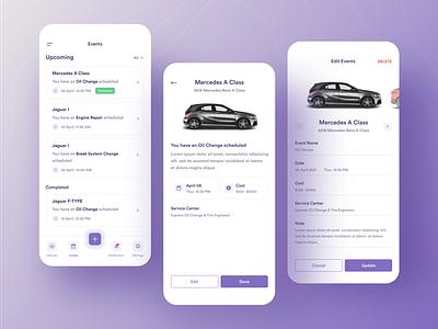 Vehicle Maintenance App car app apple ios clean app ux ui