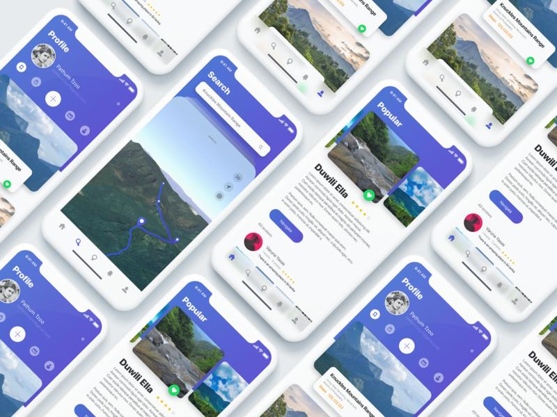 UI7 ui kit wireframe kit hike ios12 apple ios illustration app ux design travel clean ui