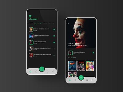 Torrent utorrent app ui black app theme typography ios branding app clean user experience user interface joker ui design ui  ux uidesign uiux ui