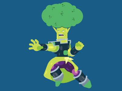 Super Broccoli vector graphic design design character illustration broccoli broly dragon ball super broly dragon ball super character design illustrator