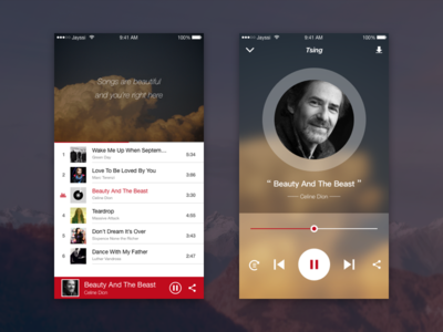 Tsing Music Player design ui sketch music