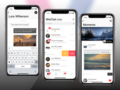 WeChat for iPhone X modern card chat social im iphone x wechat