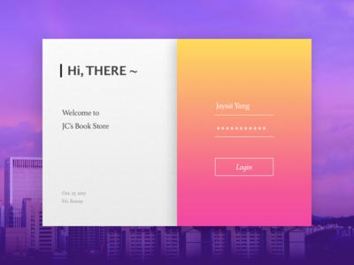 Book Store's Login Panel book color login card concept