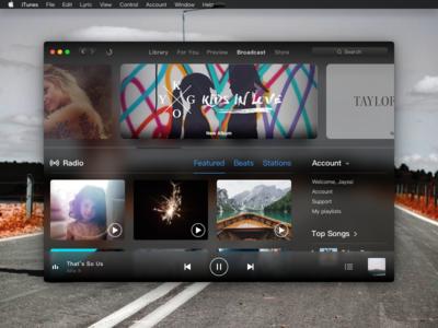iTunes Dark Mode - Concept dark music ui black redesign itunes