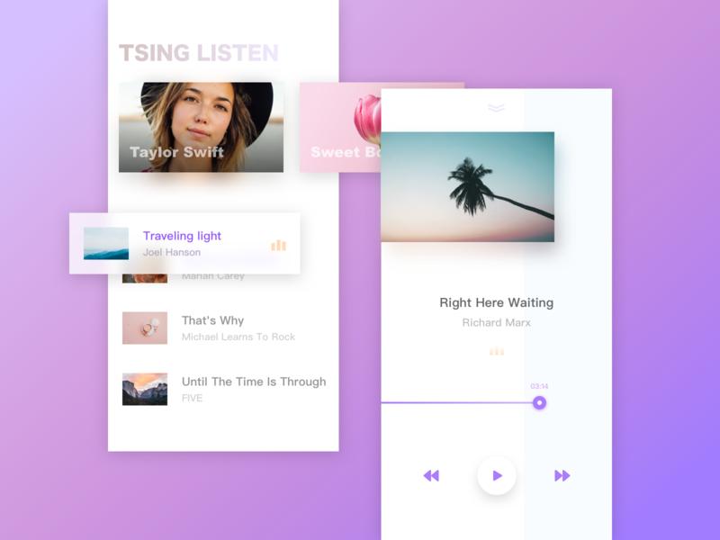 Tsing Listen Music Player colorful white card music sketch design ui
