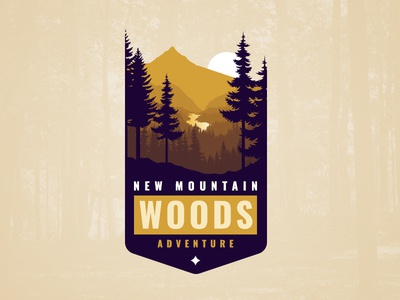 New Mountain Woods Adventure Vintage Logo Design And Branding vintage retro badge illustration adventure sport nature tourism ecology woods hiking travel mountain logotype yellow blue badge retro vintage logo typography branding logo