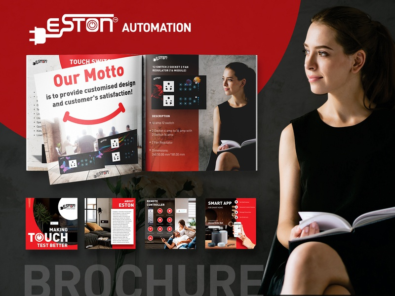 Eston Automation Brochure eston smarthome flyer template creative design creative brochure design touch switch board brochure layout free flyer design dribbble illustration vector branding ui ux design inspiration design brochure mockup switch automation brochure