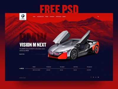Car Landing Page Free PSD free download free website design free website website design website homepage design creative creative home page bmw vision m next inspiration design landing page ui ux design free free psd dribbble homepage car home page car landing page bmw