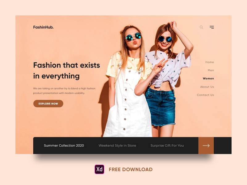 Fashion Web Design Free Xd fashion design girls fashion design landing page website design inspiration freebies free free xd dribbble online shopping clothes shop e-commerce website ui ux design fashion website design