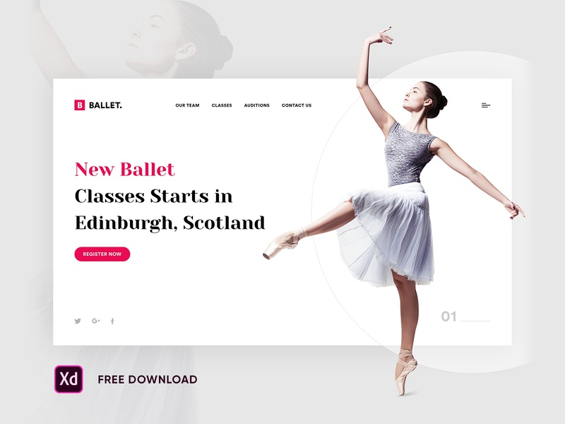 Ballet Dance Web Page ahmedabad design dance landing page dance home page dribbble ui  ux website inspiration design inspiration freebies free download download free xd free xd ui ux design dance music dance design dancer