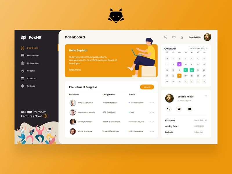HR Dashboard FREE Download illustration inspiration dribbble recruitment homepage landing page fox ui ux design dashboard human resources hr dashboard