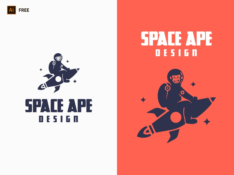 Space Ape Design Logo logo graphic dribbble freebies logo free download free download ui ux design graphic design branding monkey logo design studio logo design logo space logo