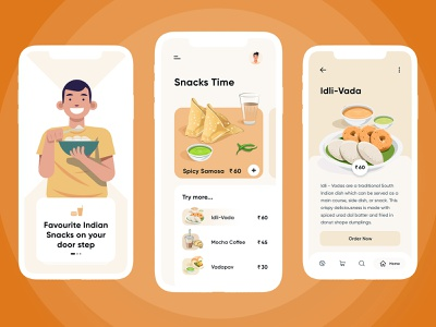 Snack & Food App free xd freebies mobile template ui ux design android mobile app ios mobile app indian food snacks app food app restaurant hotel food snacks