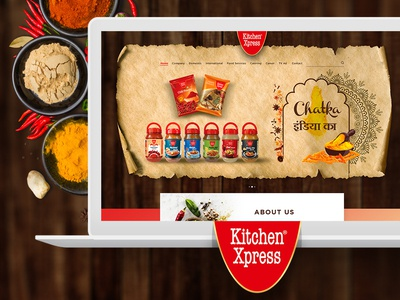 Kitchen Xpress Overseas indian spices website design dribbble ux design ui design homepage design indian masala india web design website design creative design design inspiration landing page home page ui ux design spices masala kitchen xpress